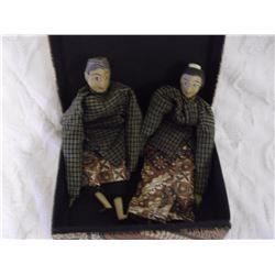 Ethnic Japanese Wooden Dolls And Box