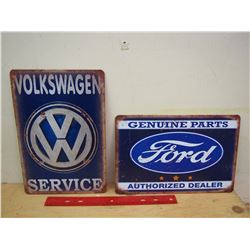 Fantasy Ford And Volkswagen Metal Signs