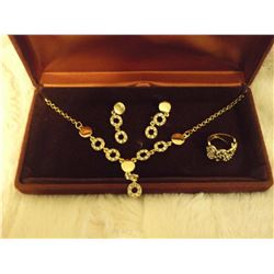 Gold Plated Necklace And Earring Set With Ring