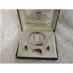 Ruby Glass Necklace Set With Matching Bracelet