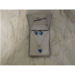 Sterling Silver Blue Topaz Necklace And Earring Set