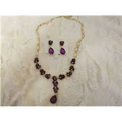 Purple Amethyst Glass Necklace And Earring Set