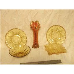 Amber Glass (4 Pcs) And Carnival Glass Vase (Chip)