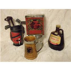 Misc. Lot (Golf Liquor Set, Brown Jug, Old tin And Lord Nelson Stein)