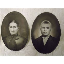 "Pair Vintage Portrait Photos (19""x14"")"
