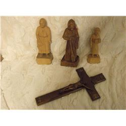 Hand Carved Sculptures (3) Caron Inc. Quebec And Vintage Crucifix