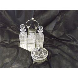 Crystal Condiment Set And Silver Dresser Box
