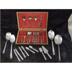 Childs Cutlery Sets (2) And 1847 Rogers Serving Spoons (4)