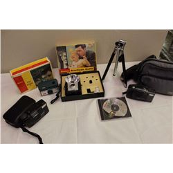 Assortment of Vintage Cameras, Cases, Tripods