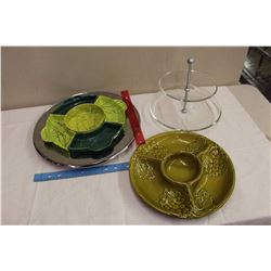 Lot Of Vintage Serving Platters (3)