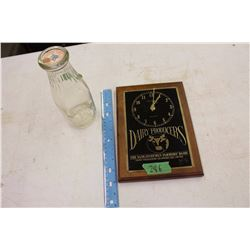 Dairy Producers Clock And Calgary Milk Bottle