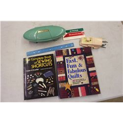 Vintage Singer Buttonholer W/ Pair Of Sewing Books