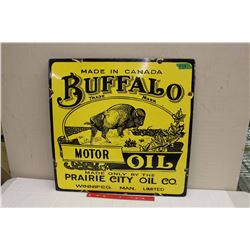 "Fantasy Porcelain Buffalo Motor Oil Sign, Winnipeg Man, 24""x24"""