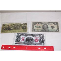 Pair Of Vintage Bank Notes (1923 Canadian One Dollar Bill, 1914 5 Cinco Pesos Bill) W/ a COPY of a U