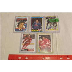 Lot of 5 NHL Rookie Cards: Joe Sakic, Dale Hawerchuk, Adam Oates, Henrik Zetterberg & Dave Andreychu