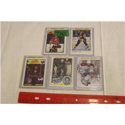 Lot of 5 NHL Rookie Cards: Jaromir Jagr, Pierre Turgeon, Tomas Plekanec, Tom Barrasso & Sean Burke