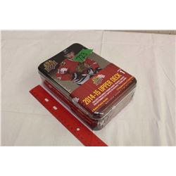 Sealed Collector's Tin of 2014-15 Upper Deck Series 1 Hockey Cards, 12 Packs