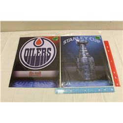 Lot of 2 Metal NHL Signs: Stanley Cup & Edmonton Oilers; new in packaging