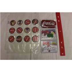 Coca-Cola Lot: Coca-Cola Classic Belt Buckle, 12 Coca-Cola Pogs & 2 Coca-Cola Polar Bear Cards