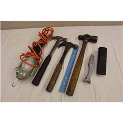 Lot Of Misc. Tools (Hammers, Safety Light, Etc)