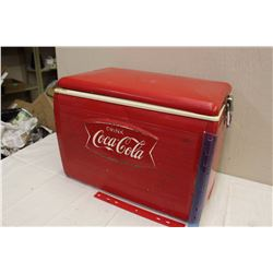 "Vintage Metal Drink Coca-Cola Cooler (Embossed Logo, Bottle Cap Openers On Sides, 20""x12""x15"")"