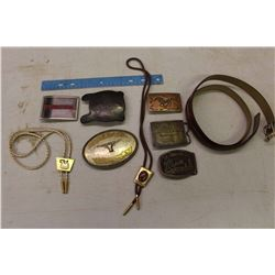 Lot Of Belt Buckles And Bolo Ties
