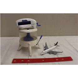 Pair Of Vintage Toys (Air Canada Metal Plane And Plastic Clothes Washer)