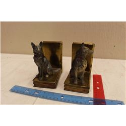 Pair Of Vintage Brass German Shepard Bookends