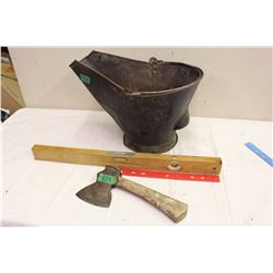 Coal Pail With Level and Hatchet