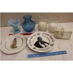 Lot Of Misc. (Clock, Commemorative Plates, Tableware)