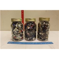Gem Jars(3) Filled w/Assorted Buttons