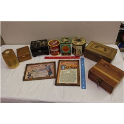 Lot of Vintage Misc(Tins&Wooden Boxes, Etc)