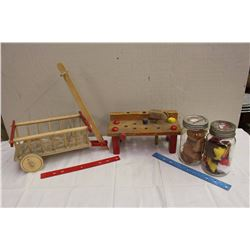 Vintage Wooden Toys,Two Jars&Two TY Stuffed Animals