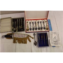 Lot of Collector Spoons&A Buck Knife w/Beaded Case