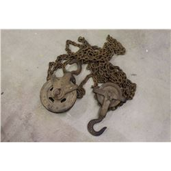 Lot Of Barn Pulleys And Chains