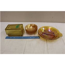 Lot Of Dishware (Antique Butter Dish, Amber Candy Dish, Carnival Glass Dishes)