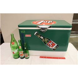 Vintage Coleman Fantasy 7UP Metal Cooler, Chrome Handles And Opener, W/ 7up Bottles