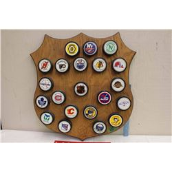 Vintage Texaco Gas Station Give Away NHL Collector Pucks And Texaco Plaque.