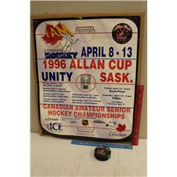 Vintage 1996 Allan Cup Unit Sask And Official Allan Cup Unity Miners Puck
