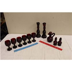11 Pcs Cape Cod Avon (Candlesticks (2), S+P, Vinegar, Wine Glasses(6))