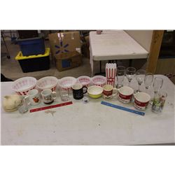 HUGE lot of Dishware (Glasses, Milk Glass Bowls, Cups, Etc)