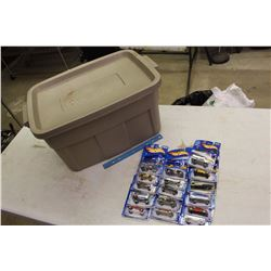 Lot Of NIB Hotwheels Cars (16) W/ Rubbermaid Tub
