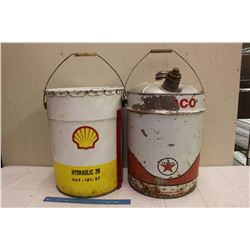 Texaco Oil Pail (5 Gallons, Empty)&A Shell Oil Pail (20 Litres, Empty)
