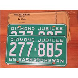 1965-66 Sask License Plates (Never Used)