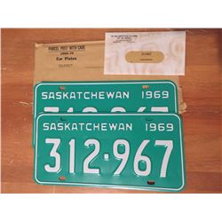 1969 Sask License Plates (Never Used w/War Amp Tags)
