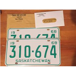 1968 Sask License Plates (Never Used w/War Amp Tags)