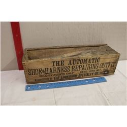 """Automatic1908 Wooden Box Shoe&Harness Repair Outfit(14x4.5x4"""")"""