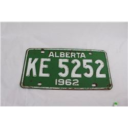 1962 Alberta Licence Plate