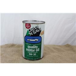 Full Vintage 1970s Drive&Save Oil Can(1 Quart)