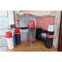 Lot of Vintage Thermos and Lunch Kits